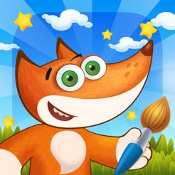 Tim the Fox - Paint - free preschool coloring game - Malbuch