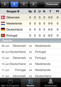 Euro 2012 im TV App iPhone