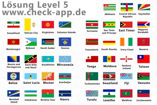 Alle Lösungen Flags Quiz Level 5