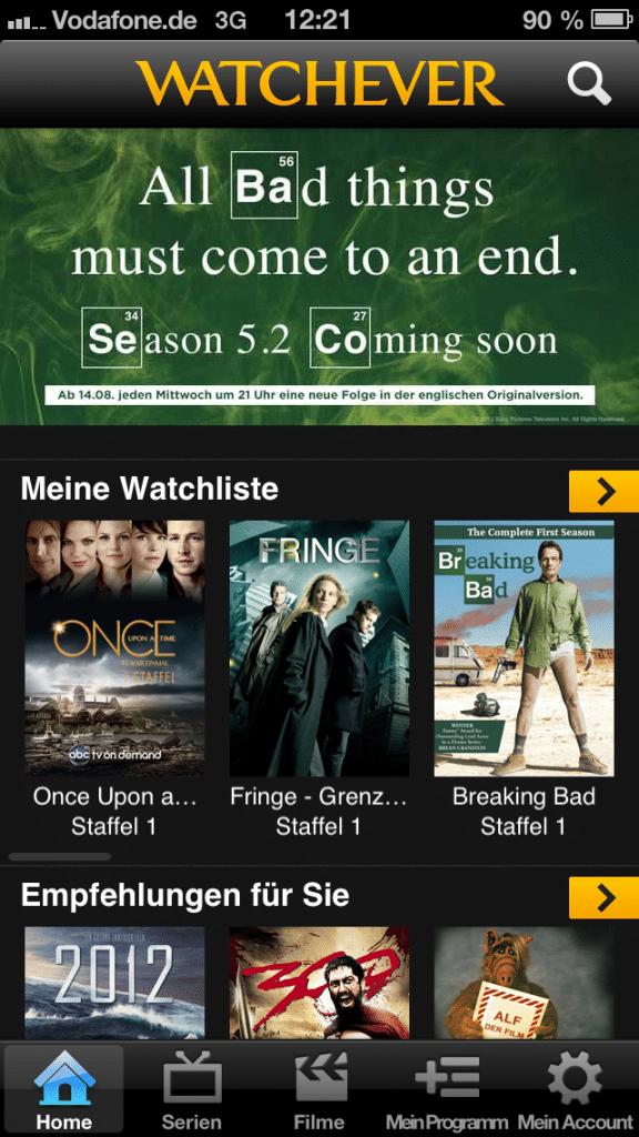 Watchever App Startbildschirm