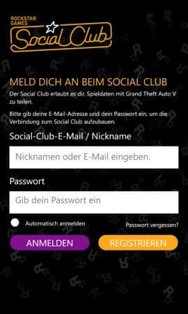 social club anmelden