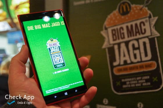 Mc Donalds Big Mac Jagd auf dem Windows Phone (Lumia 1520)