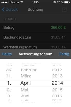 Finanzblick_App_Check_Android_Buchung_Auswertung_Tipps_Tricks_Datum_aendern