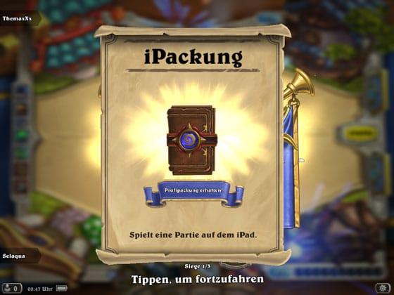 Hearthstone_App_iPad_iPackung_Erfolg_Profipackung_geschenkt