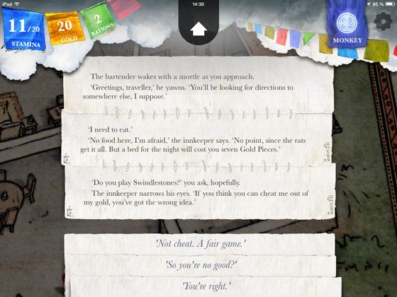 Sorcery_2_Steve_Jackson_inkle_Check_App_Test_Swindlestones_Gespraech