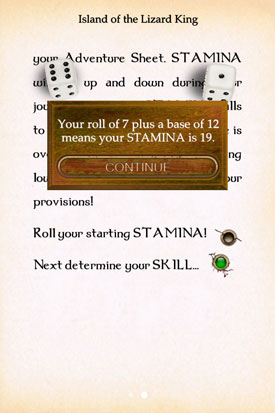 Island_of_the_Lizard_king_Gamebook_App_Charaktererstellung_Ausdauer_Wurf