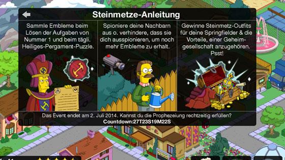 Die_Simpsons_Springfield_Steinmetze_Update_Event_Aufgaben_Embleme_Sammeln