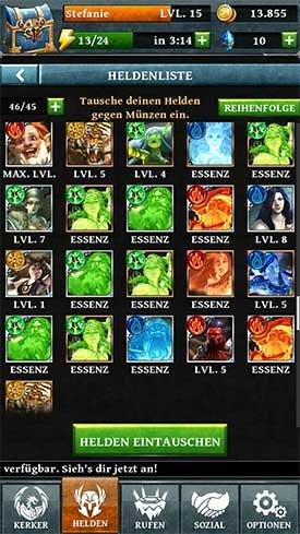 Dungeon_Gems_App_Heldenliste