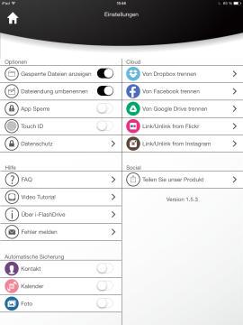 Photofast_One_App_Einstellungen