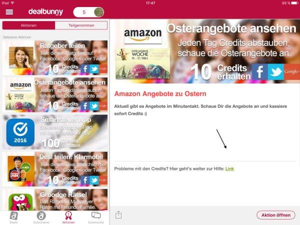 Dealbunny_App_Aktionen