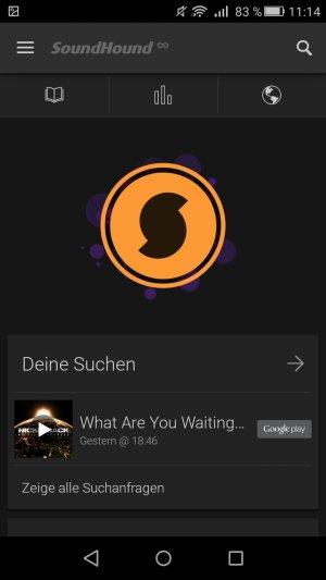 SoundHound Startbildschirm Suche