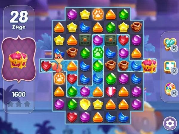 genies gems app match3 pfoten